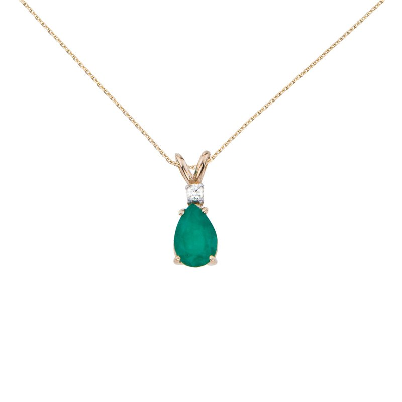 Color Merchants 14k Yellow Gold  Pear Shaped Emerald and Diamond Oval Pendant