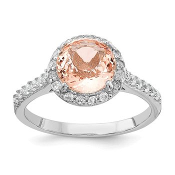 Cheryl M Sterling Silver CZ and Simulated Morganite Ring