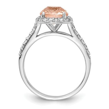 Cheryl M Sterling Silver Rhodium Plated CZ and Simulated Morganite Ring