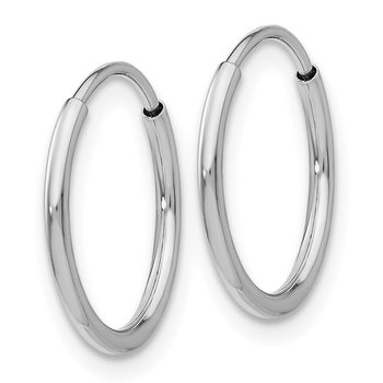10K White Gold 1.2mm Endless Hoop Earrings