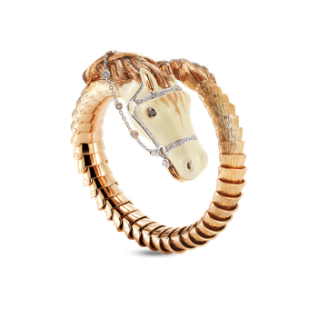 18Kt Gold Flexible Horse Cuff With Diamonds And Enamel
