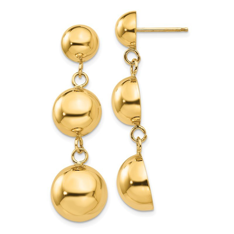 Quality Gold 14k Polished Half Ball Dangle Earrings