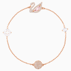 Swarovski Dazzling Swan Bracelet, Multi-colored, Rose-gold tone plated
