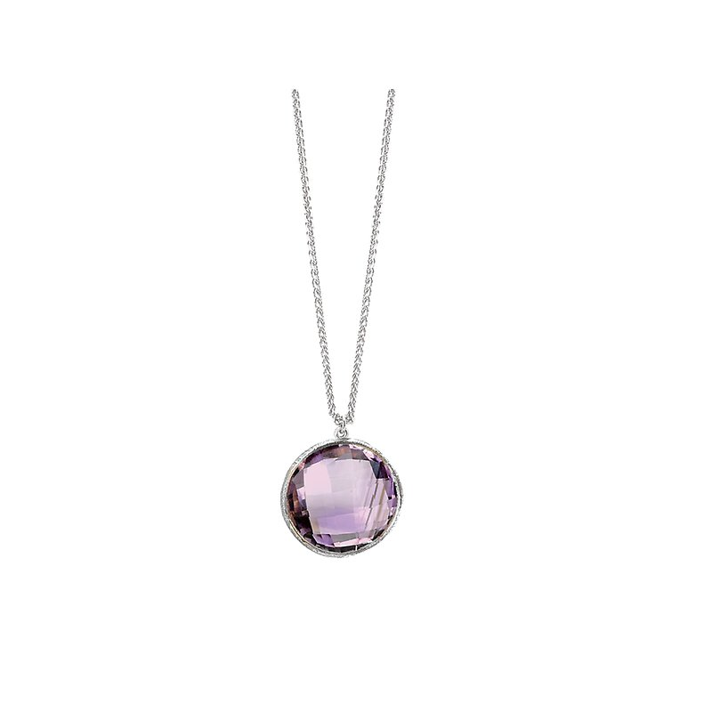SILVER W/RHODIUM AMETHYST     ADJ 16-18 NECKLACE, 12MM