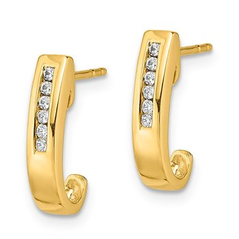 14k Diamond J-Hoop Post Earrings