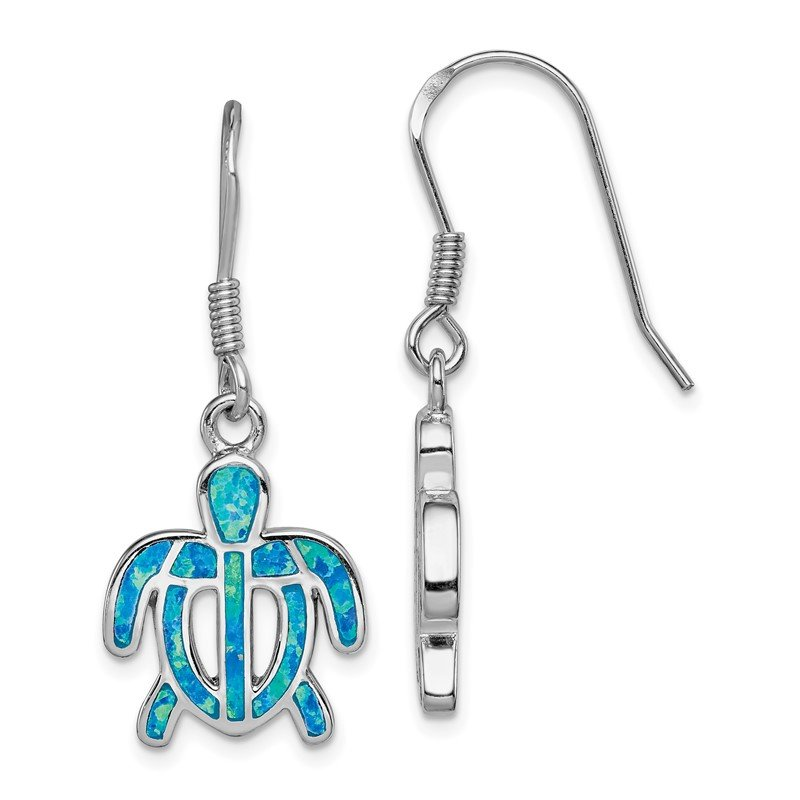 Quality Gold Sterling Silver Created Blue Opal Inlay Tortoise Dangle Earrings