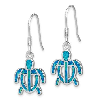 Sterling Silver Created Blue Opal Inlay Tortoise Dangle Earrings