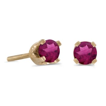 3 mm Petite Yellow Gold Round Rhodolite Garnet Screw-back Stud Earrings in 14k Yellow Gold