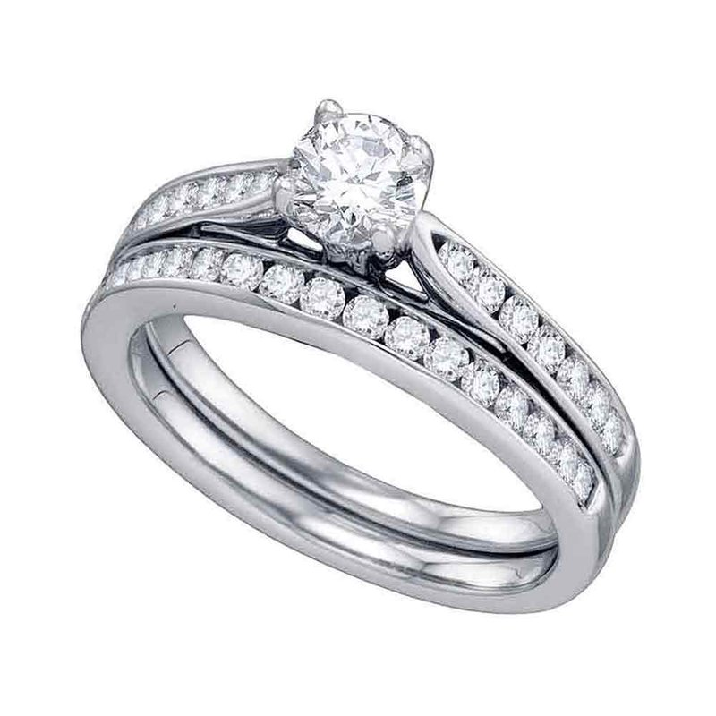 Gold-N-Diamonds, Inc. (Atlanta) 14kt White Gold Womens Diamond Round Bridal Wedding Engagement Ring Band Set 1.00 Cttw