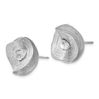 Leslie's SS Rhodium-plated Diamond-Cut Earrings