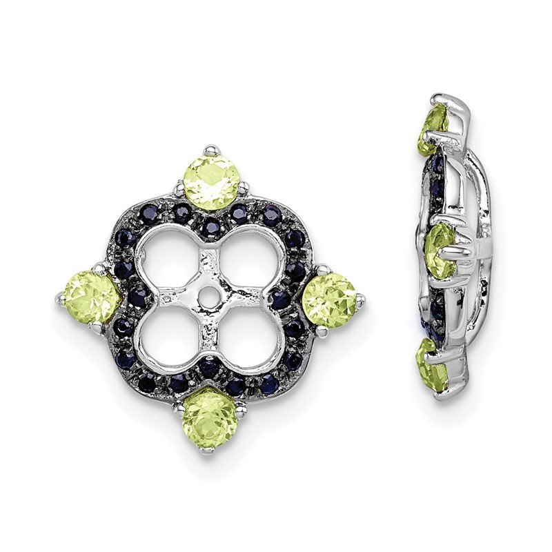 Quality Gold Sterling Silver Rhodium Peridot & Black Sapphire Earring Jacket