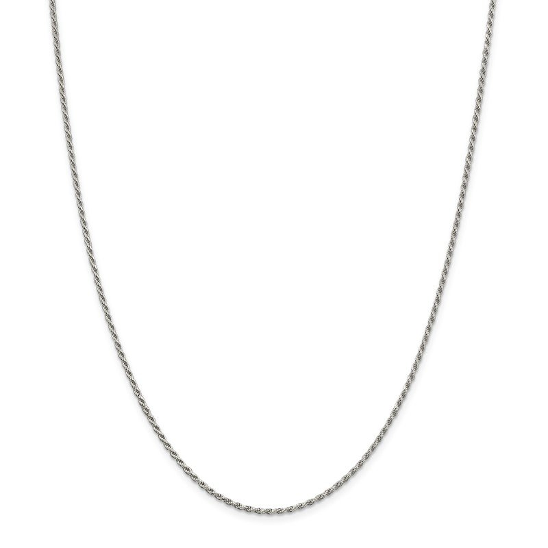 Quality Gold Sterling Silver Rhodium-plated 1.7mm Diamond-cut Rope Chain