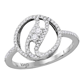 10kt White Gold Womens Round Diamond 2-stone Circle Ring 1/5 Cttw