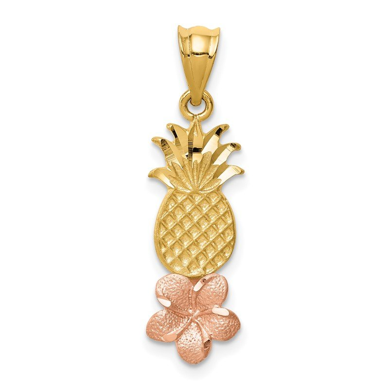 Quality Gold 14K Yellow and Rose Gold Pineapple W/ Plumeria Pendant