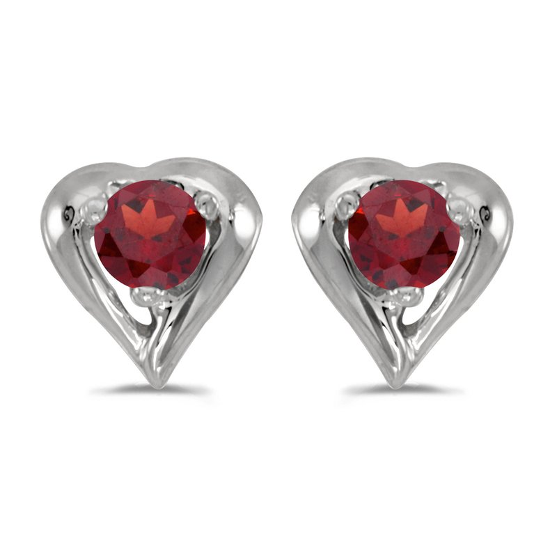 14k White Gold Round Garnet Heart Earrings