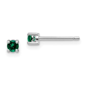 Sterling Silver 3mm Round Created Emerald Post Earrings