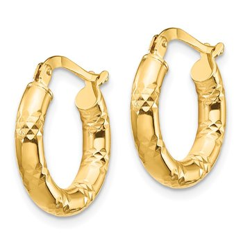 14K 3x17mm Diamond-cut Hoop Earrings