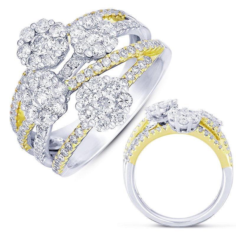 S. Kashi  & Sons White & Yellow Gold Pave Ring