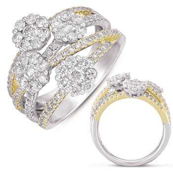 White & Yellow Gold Pave Ring