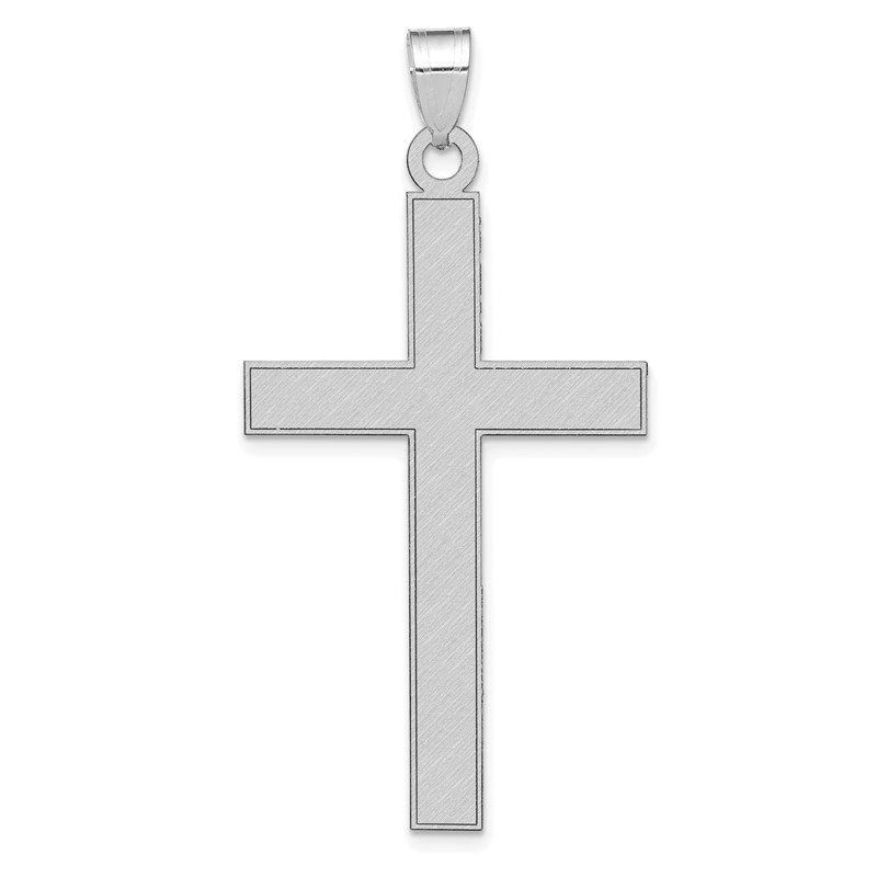 Quality Gold 14k White Gold Florentine Satin Cross Pendant