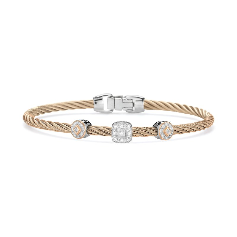 ALOR Carnation Cable Essential Stackable Bracelet with Multiple Diamond station set in 18kt White & Rose Gold