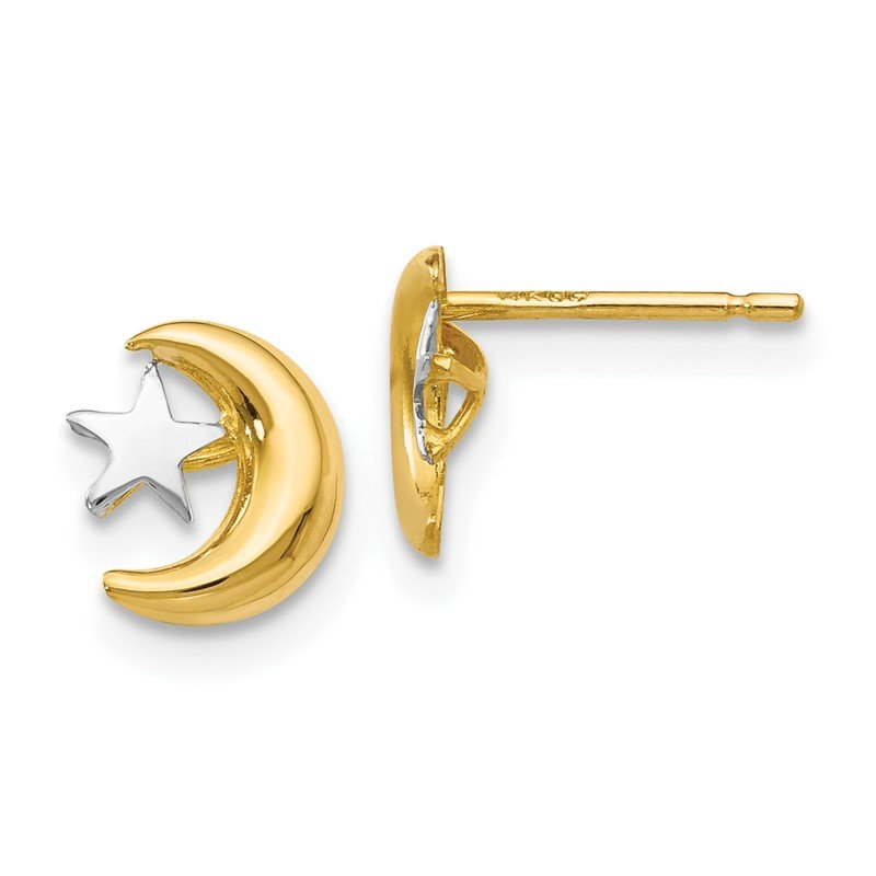 Quality Gold 14k Polished & Rhodium Moon & Star Post Earrings