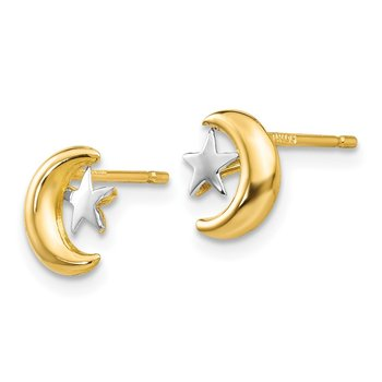 14k Polished & Rhodium Moon & Star Post Earrings