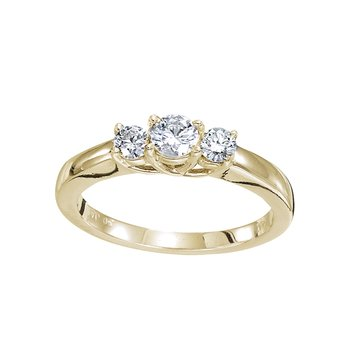 14k Yellow Gold 0.50 Ct Three Stone Trellis Diamond Ring