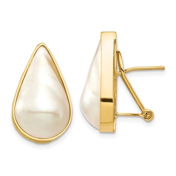 14K 12x20 White Pear Saltwater Cultured Mabe Pearl Omega Back Earrings
