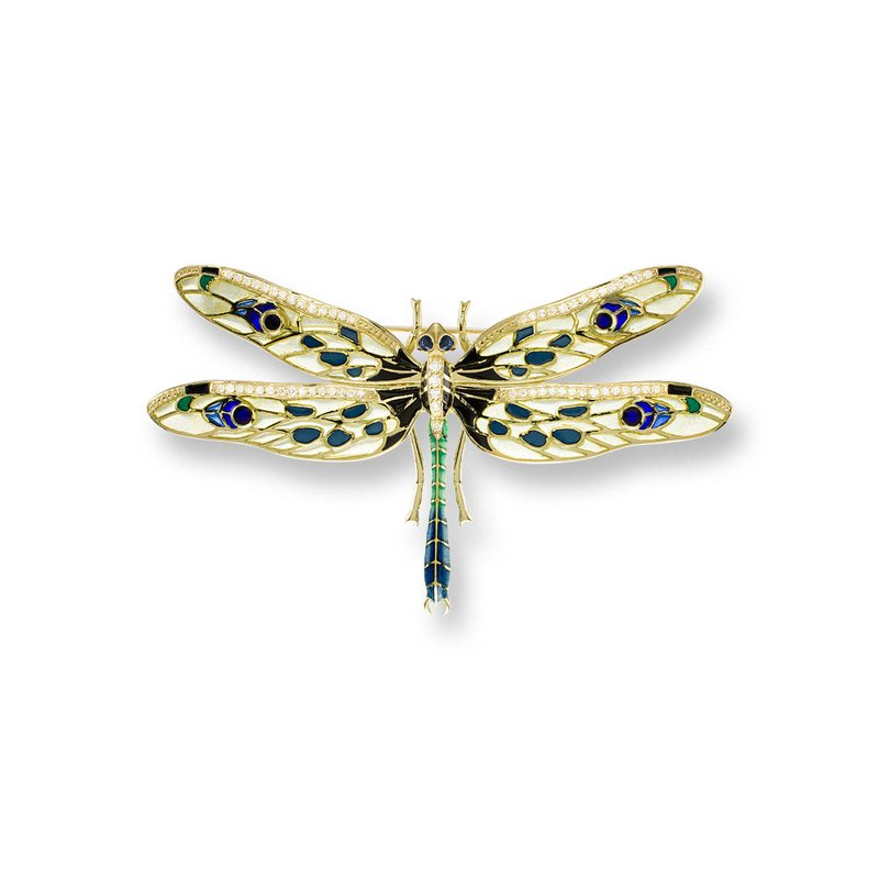 Nicole Barr Designs Yellow Dragonfly Brooch.18K -Diamonds and Blue Sapphires - Plique-a-Jour
