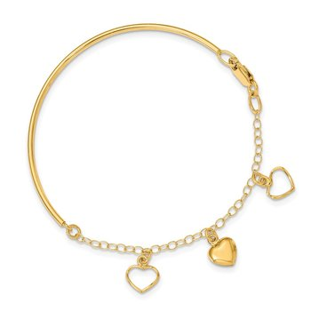 14k Polished Dangle Heart Chain Bangle