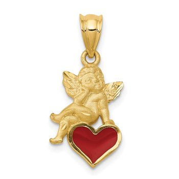 14k Enameled Angel on Heart Pendant