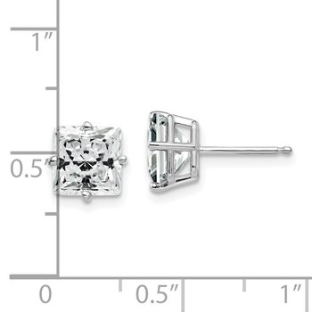 14k White Gold 7mm Cubic Zirconia Earrings