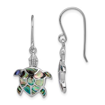 Sterling Silver Rhodium-plated Polished Abalone Turtle Dangle Earrings