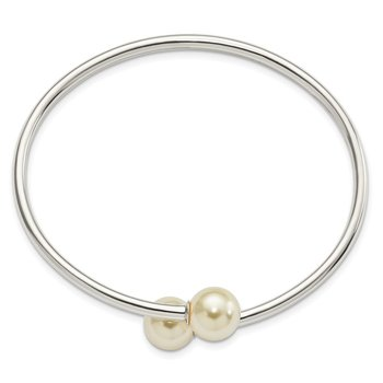 Sterling Silver Polished 10mm Swarovski Pearl Bangle Bracelet