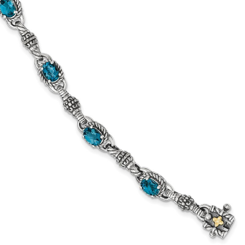 Quality Gold Sterling Silver w/14k London Blue Topaz 7.25 in. Bracelet