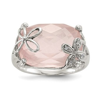 Sterling Silver w/ Rose Quartz & White Sapphire Ring
