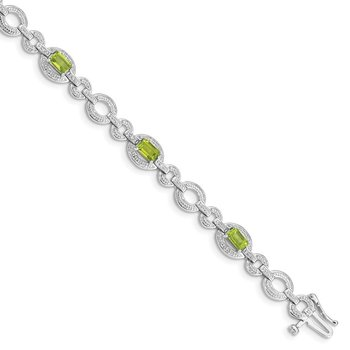 Sterling Silver Rhodium-plated Diamond & Peridot Oval Link Bracelet