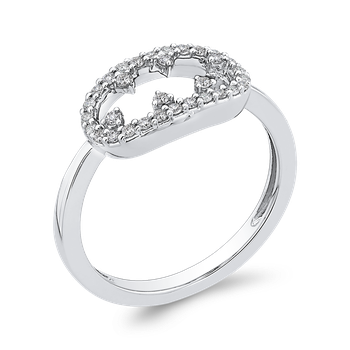 10K White Gold 1/5 ct Round Diamond Fashion Ring