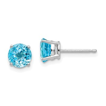 14k White Gold 6mm Blue Topaz Earrings