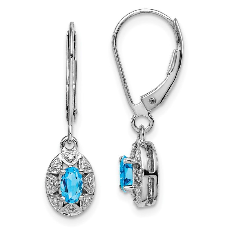 Quality Gold Sterling Silver Rhodium-plated Diam. & Blue Topaz Earrings