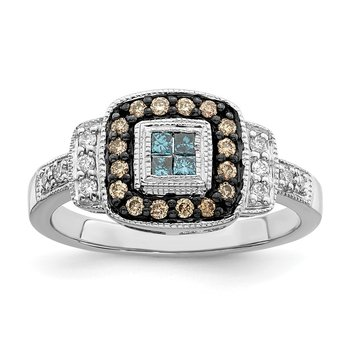 Sterling Silver Rhod Plated Square White, Champagne & Blue Diamond Ring