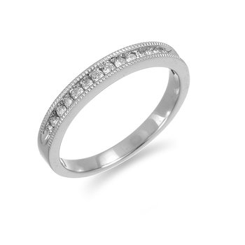 14K WG and diamond Wedding band with fine milgrain edge in channel setting