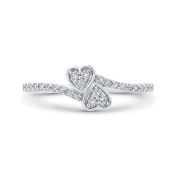 1/5 ct Diamond 10K White Gold Bypass Heart Fashion Ring