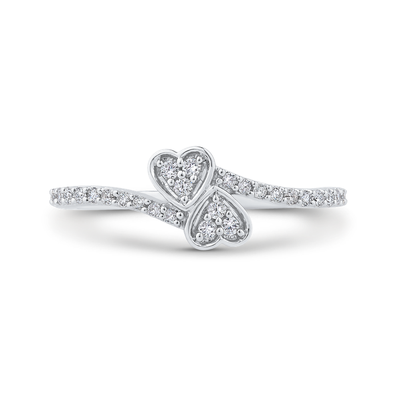 Essentials 1/5 ct Diamond 10K White Gold Bypass Heart Fashion Ring