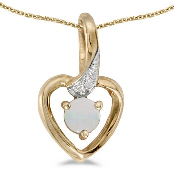 14k Yellow Gold Round Opal And Diamond Heart Pendant