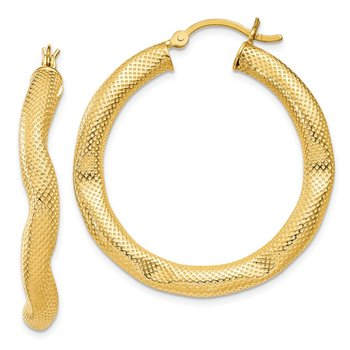 Sterling Silver Gold-tone Patterned Shaped 4x35mm Hoop Earrings