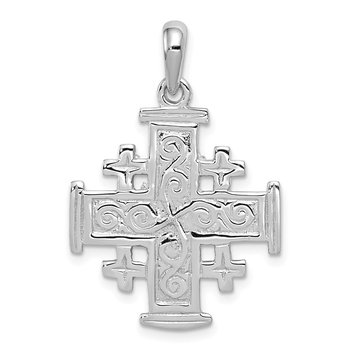 14k White Gold Jerusalem Cross Pendant