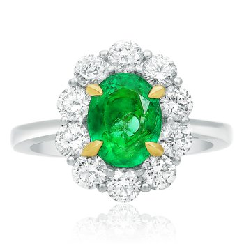 Small Flowering Halo Emerald Ring