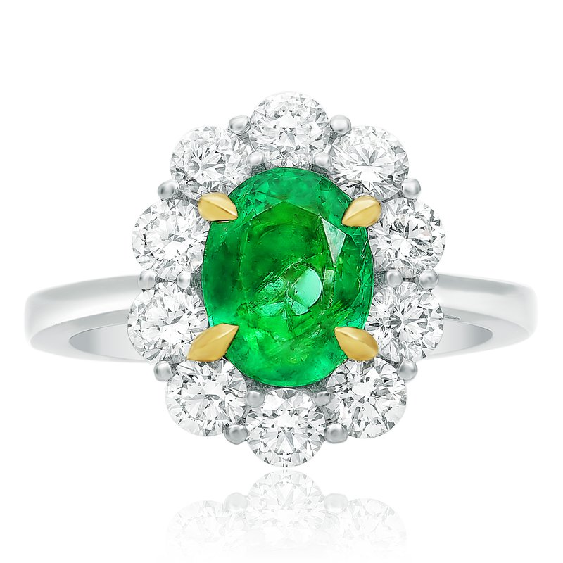 Roman & Jules Small Flowering Halo Emerald Ring